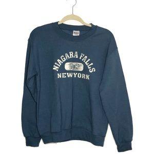 Vintage Niagra Falls Crew Neck Denim Blue Size S